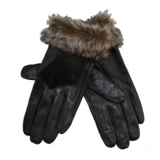 LADIES TOUCH SCREEN LEATHER GLOVES WITH FUR TRIM