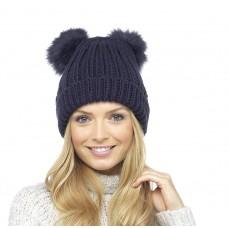 Ladies Womens Girls Winter Beanie Bobble Hat with Twin Faux Fur Pom Pom