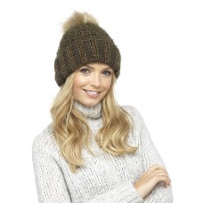 Ladies Chunky Knit Hat with Metallic Sparkle and Faux Fur Bobble