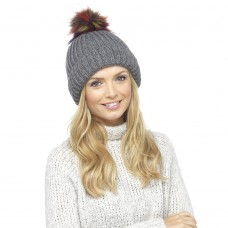 Ladies Chunky Soft Ribbed Beanie Hat with Extra Large Multicoloured Faux Fur Pompom